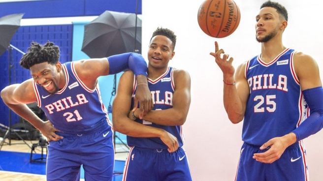 Joel Embiid, Markelle Fultz and Ben Simmons of the Philadelphia 76ers