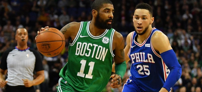 Boston's Kyrie Irving takes on Philadelphia's Ben Simmons