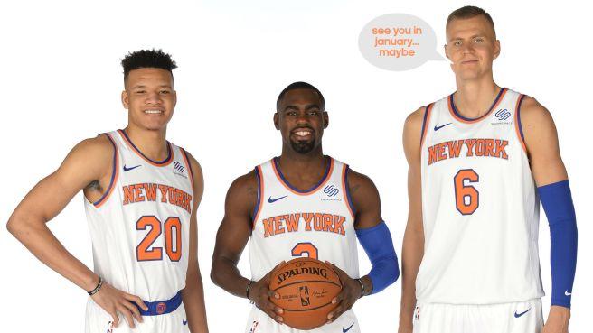Kevin Knox, Tim Hardaway Jr, Kristaps Porzingis (injured) of the New York Knicks.