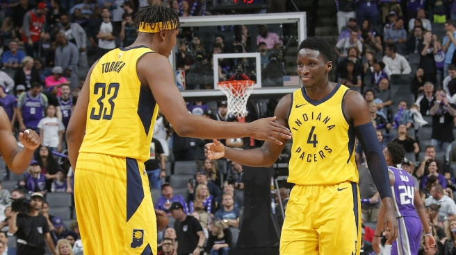 Myles Turner and Victor Oladipo of the Indiana Pacers