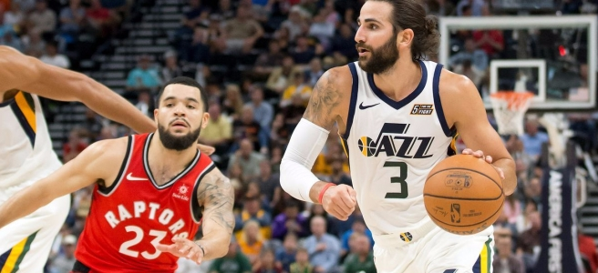 Ricky Rubio of the Utah Jazz takes on Fred VanVleet of the Toronto Raptors.
