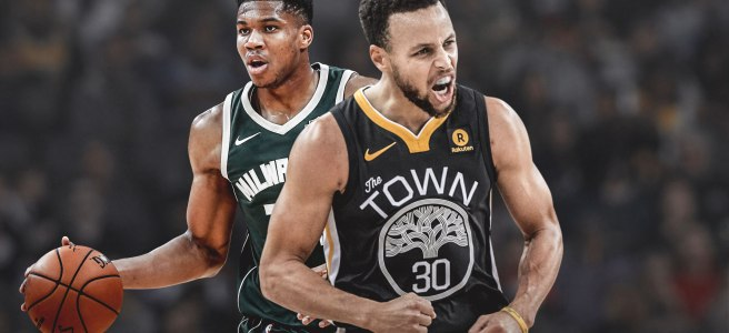 Giannis Antetokounmpo and Stephen Curry